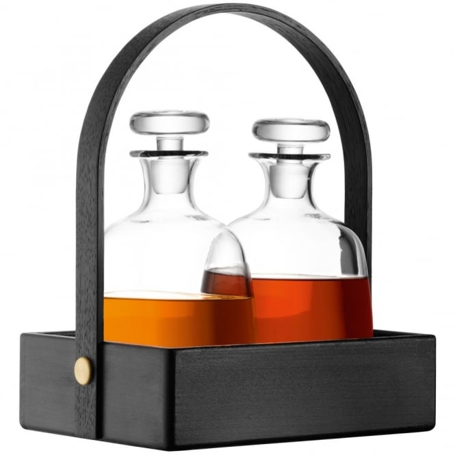 LSA International Disc Decanter x 2 and Black Beech Tray
