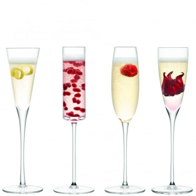 LSA International Lulu Champagne Flutes - Set of 4 - Assorted