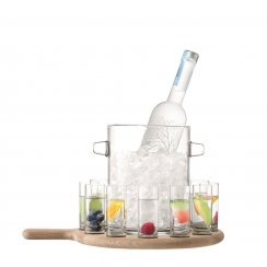 Paddle Vodka Serving Set & Oak Paddle - Clear - L38.5cm