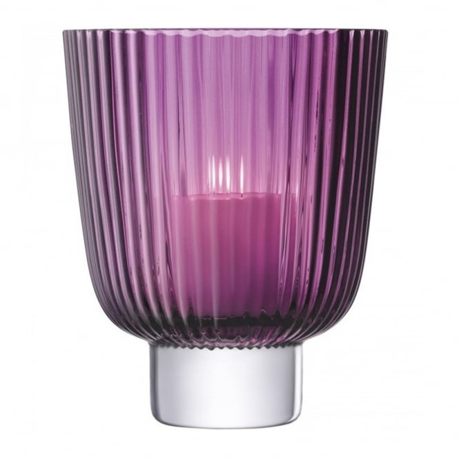 LSA International Pleat Storm Lantern - Heather - H21.5cm