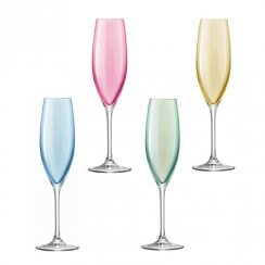 Polka Champagne Flutes Pastel Assorted - Set of 4