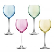 Polka Wine Glasses Pastel Set of 4 - Seasonal Red Packaging