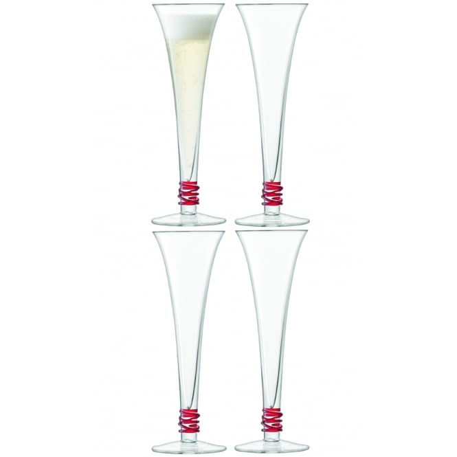 LSA International Prosecco Flutes - Set of 4 - Red
