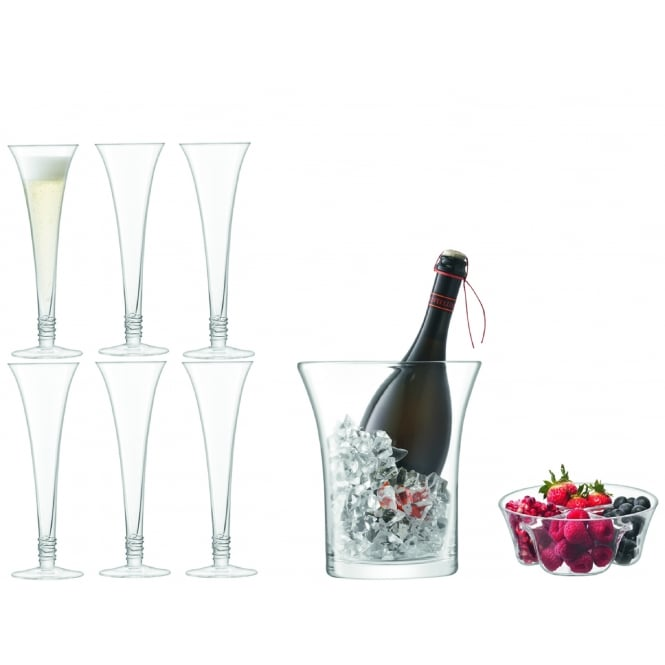 Lsa Prosecco Grand Serving Set Clear Black By Design