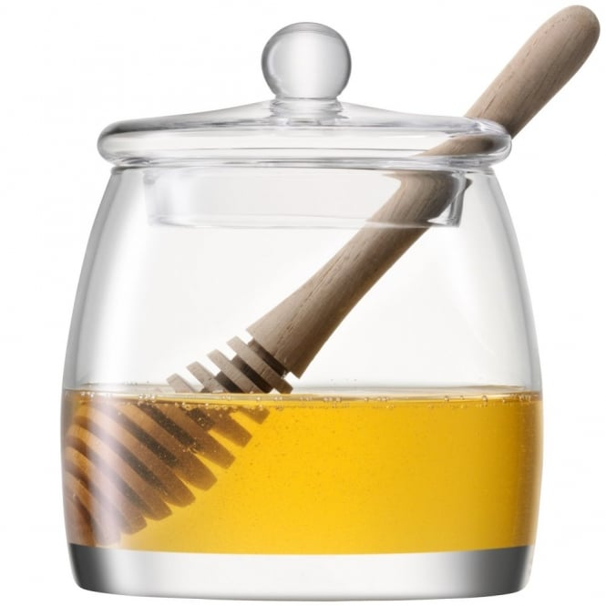 LSA International Serve Mouthblown Glass Honey Pot with Natural Oak Dipper