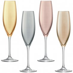 Set of 4 Polka Champagne Flutes - Metallic