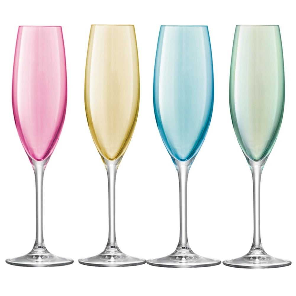 lsa polka champagne flutes pastel set of 4 black by design. Black Bedroom Furniture Sets. Home Design Ideas