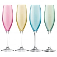 Set of 4 Polka Champagne Flutes - Pastel - Seasonal Red Packaging