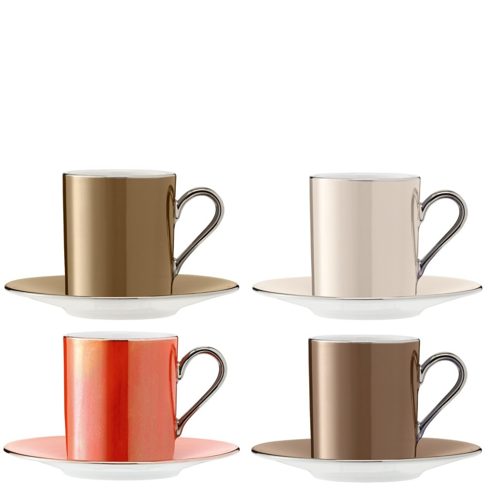 Set of 4 LSA Polka Espresso Coffee Cups & Saucers - Metallics