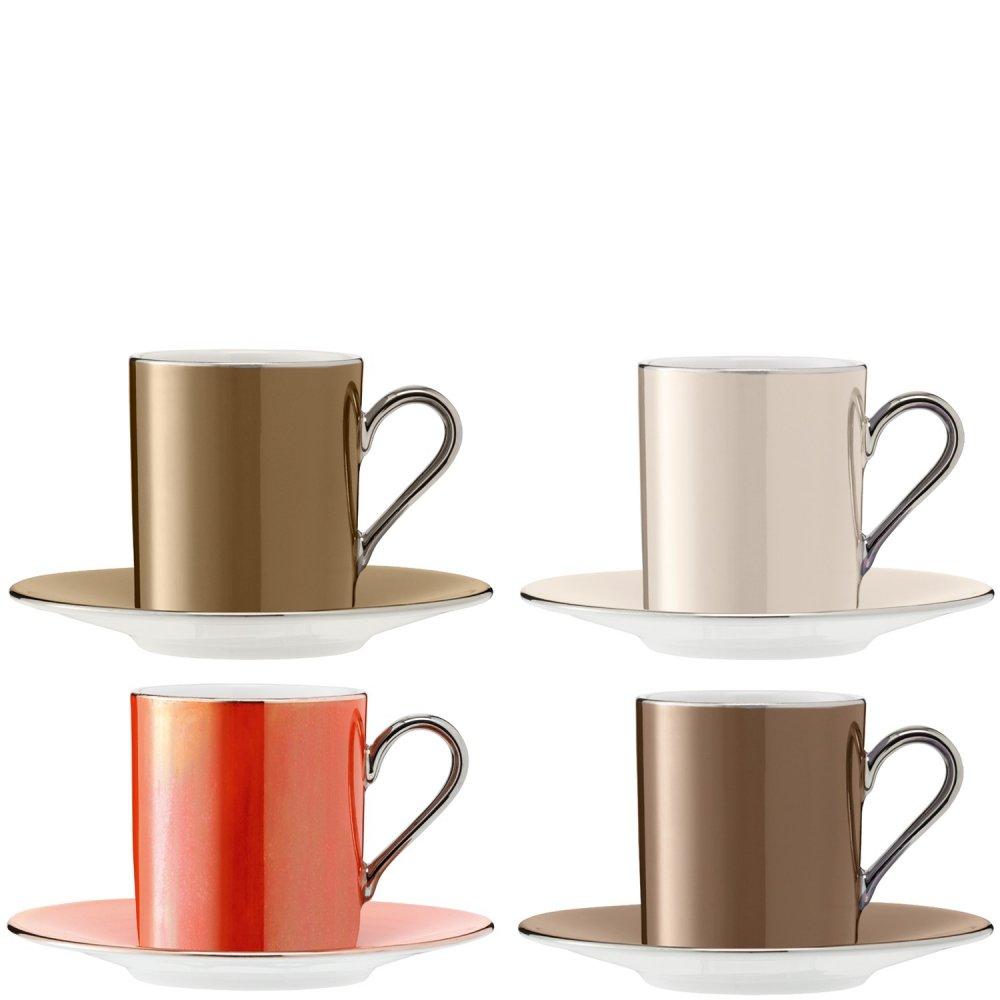 Set Of 4 Lsa Polka Espresso Coffee Cups Saucers Metallics