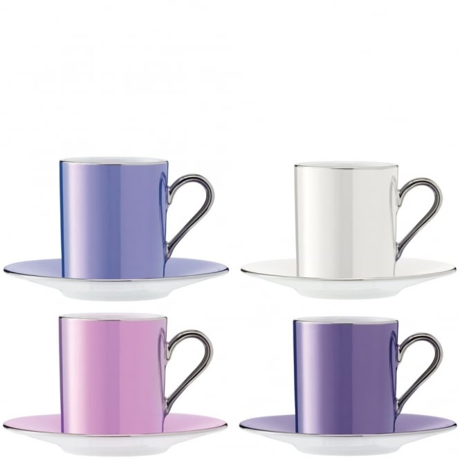LSA International Set of 4 Polka Espresso Coffee Cups & Saucers - Pastel