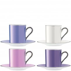 Set of 4 Polka Espresso Coffee Cups & Saucers - Pastel