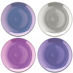 Set of 4 Polka Porcelain Teaplates - Pastel