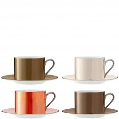 Set of 4 Polka Teacups & Saucers - Metallic