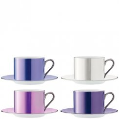 Set of 4 Polka Teacups & Saucers - Pastel