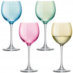 Set of 4 Polka Wine Glasses - Pastel