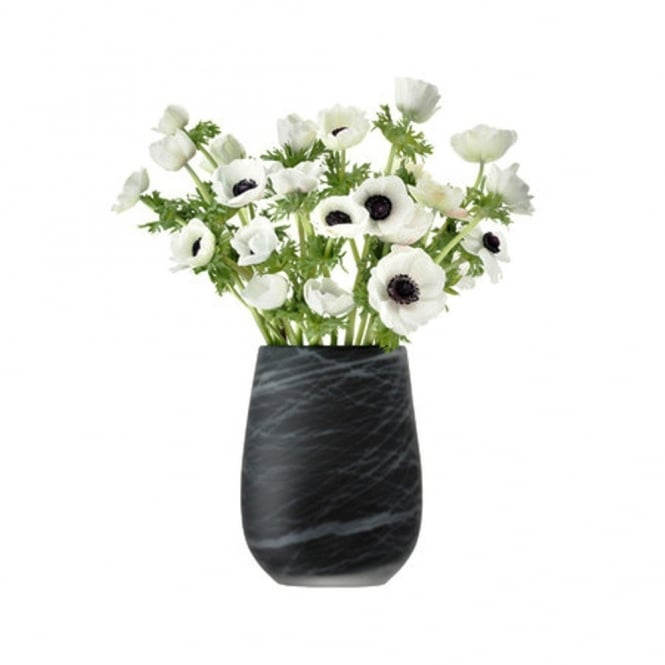 LSA International Silk Vase - White on Black - 23cm