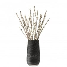 Silk Vase - White on Black - 38cm