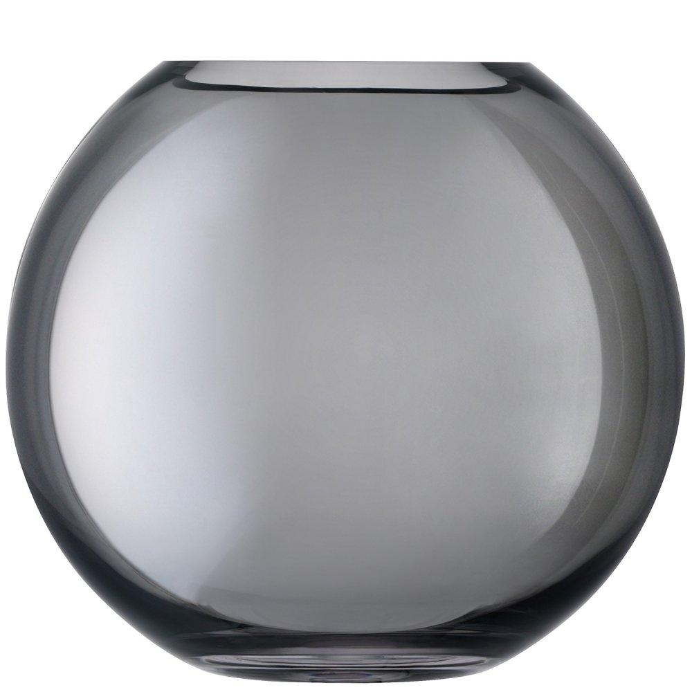 LSA Polka Spherical Vase hand painted in Sheer Zinc at Black by Design