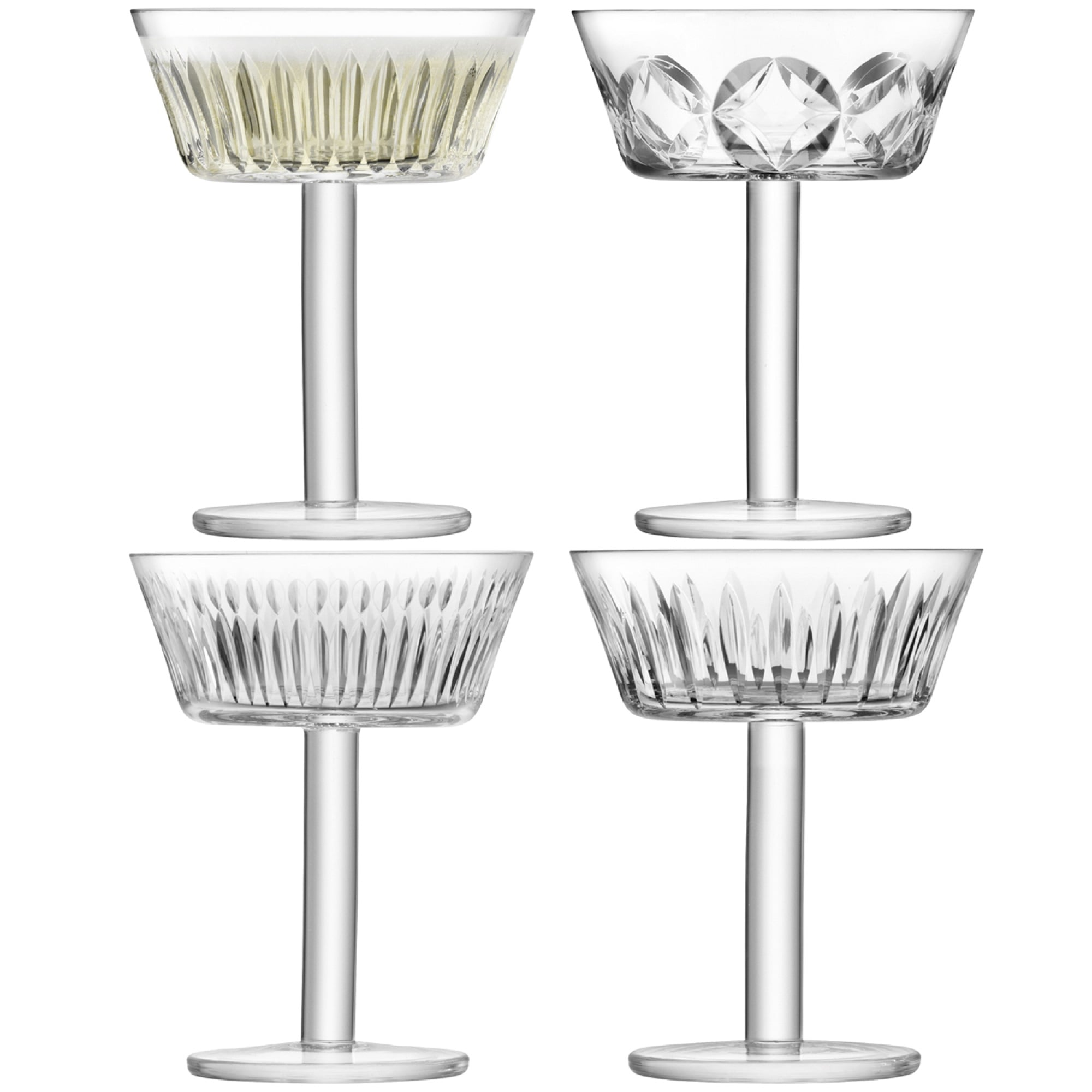 Lsa Tatra Assorted Champagne Saucers 250ml Set Of 4 Black By Design