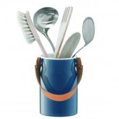Utility Utensil Pot and Leather Handle - Juniper Blue