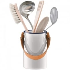 Utility Utensil Pot and Leather Handle - Milk White
