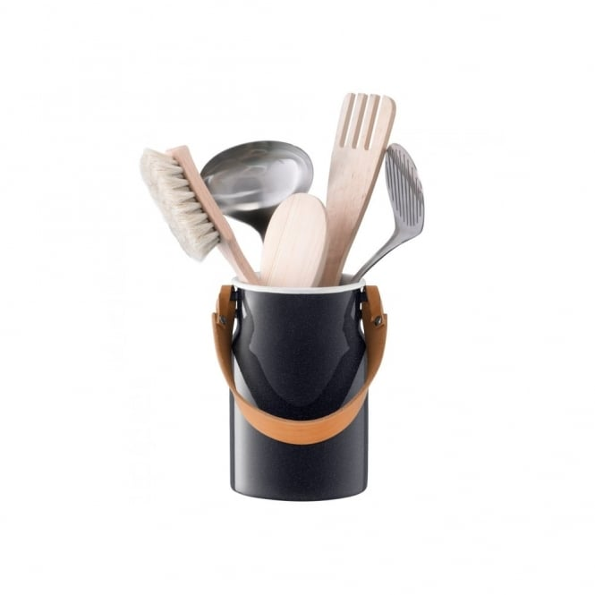 LSA International Utility Utensil Pot and Leather Handle - Pepper Black