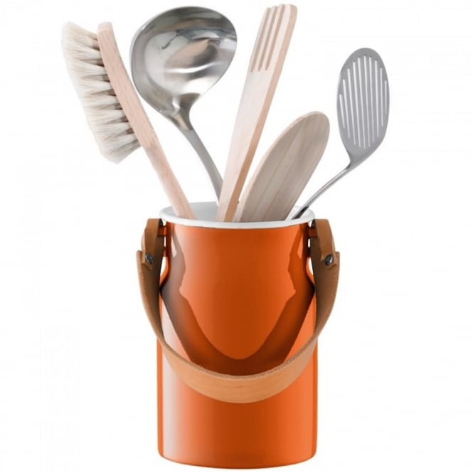 LSA International Utility Utensil Pot and Leather Handle - Pumpkin Orange