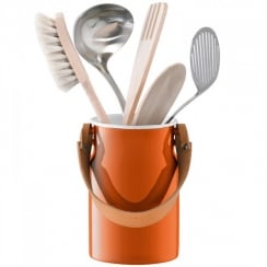 Utility Utensil Pot and Leather Handle - Pumpkin Orange