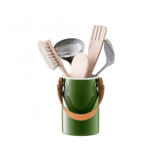LSA International Utility Utensil Pot and Leather Handle - Sage Green