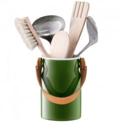 Utility Utensil Pot and Leather Handle - Sage Green