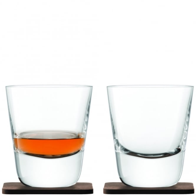 LSA International Whisky Arran Tumblers on Walnut Coasters - Set of 2