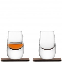 Whisky Islay Shot Glasses on Walnut Coasters - Set of 2