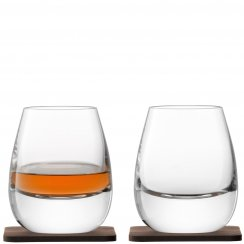 Whisky Islay Tumblers on Walnut Coasters - Set of 2