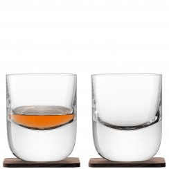 Whisky Renfrew Tumblers on Walnut Coasters - Set of 2