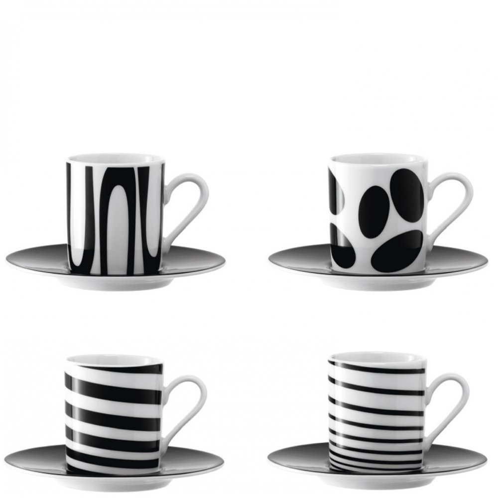 LSA Black Jazz Espresso Coffee Cups & Saucers at black-by ...