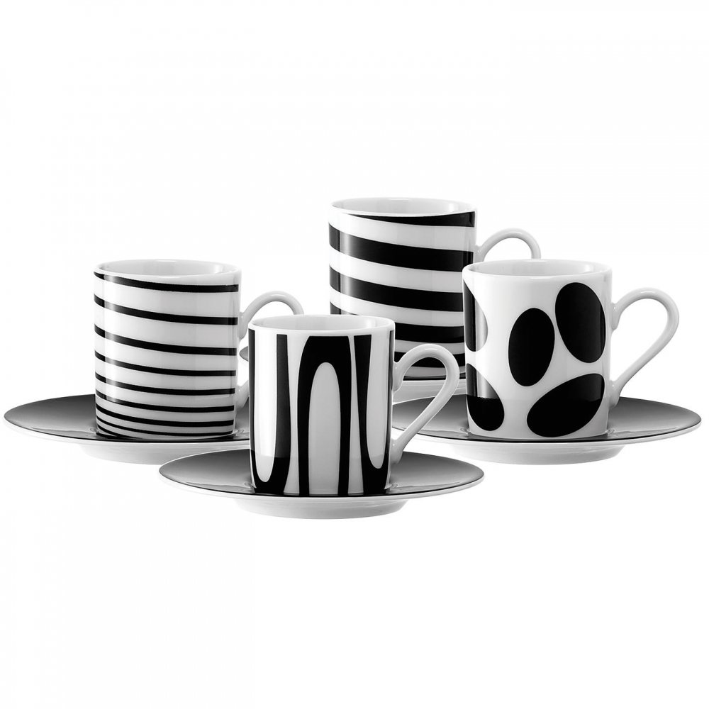 LSA Black Jazz Espresso Coffee Cups & Saucers at black-by-design.co.uk