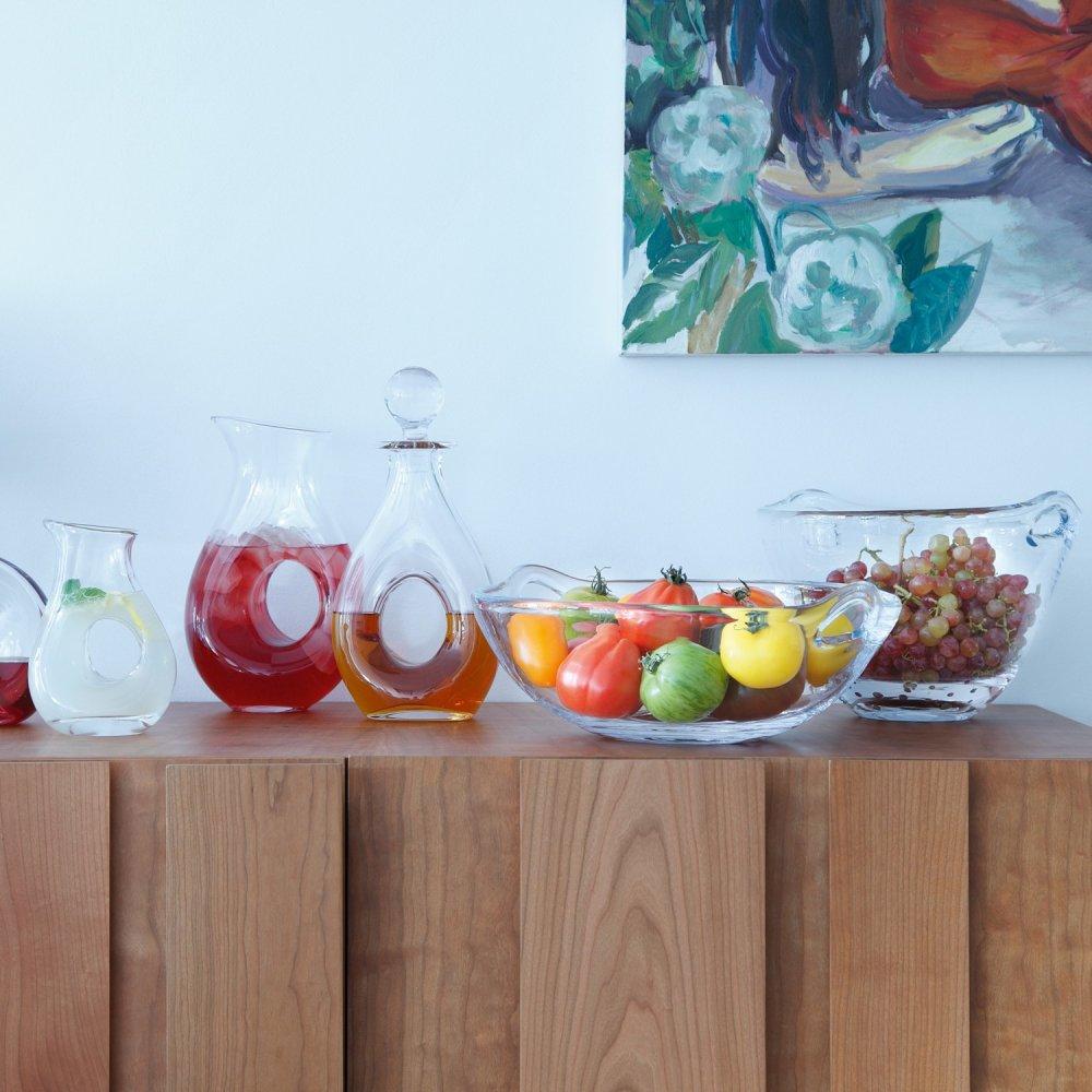 LSA 26cm Ono Mouthblown Glass Fruit/Salad Bowl @ Black-by