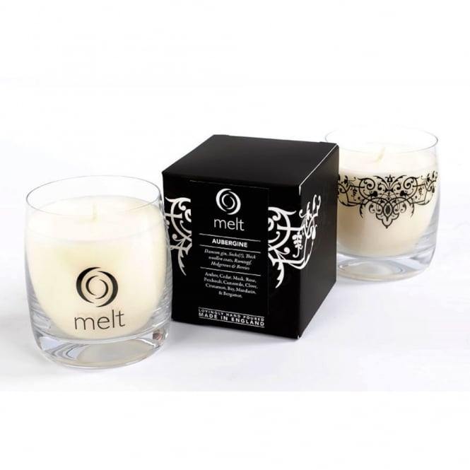 Melt Luxury Hand Poured Scented Candle in a Glass Jar - Aubergine