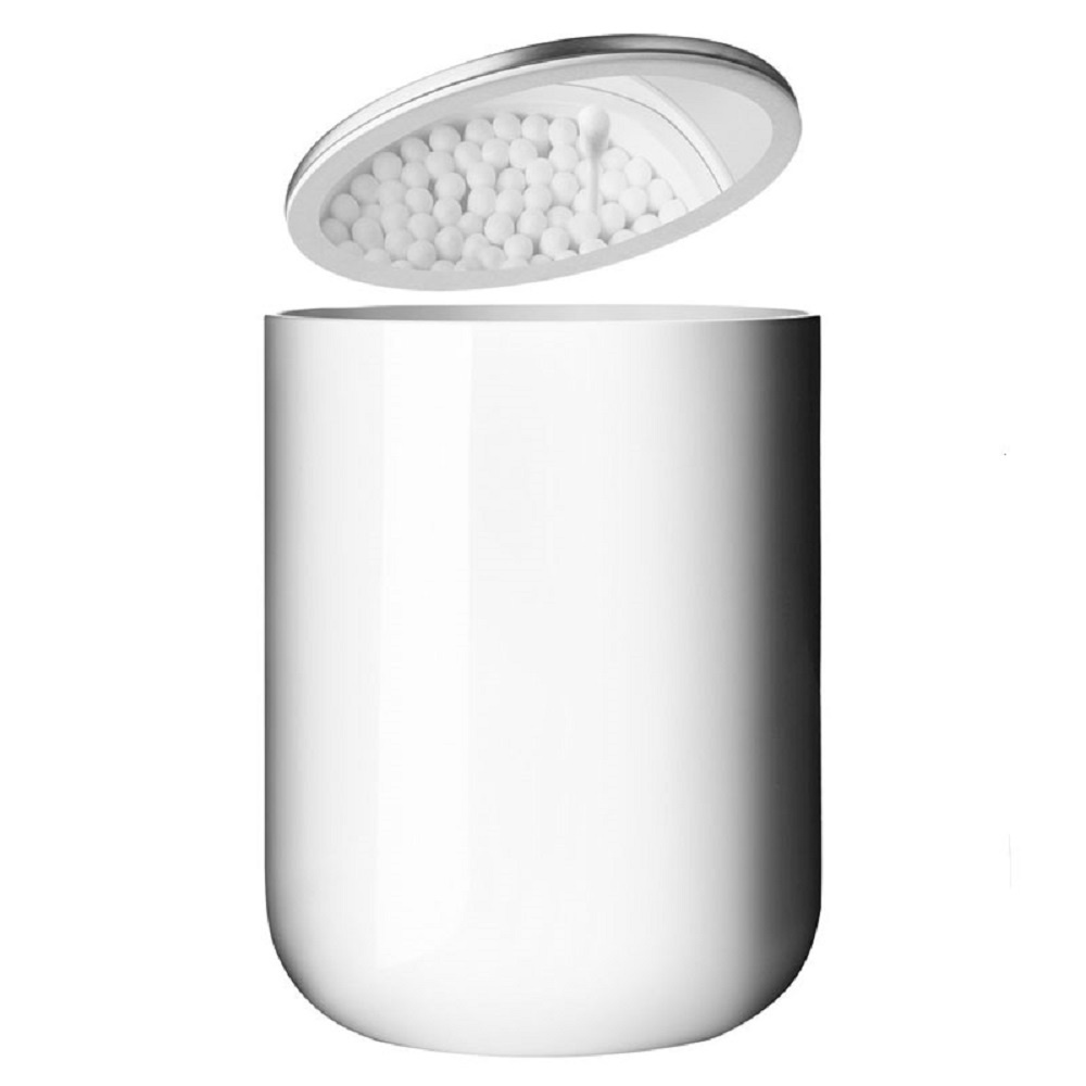 Menu cotton bud container white black by design for Bathroom containers