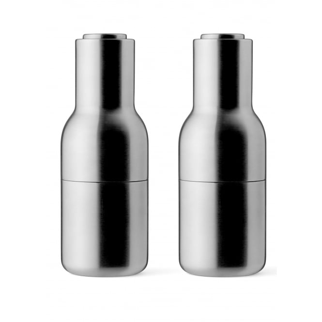 Menu Set of 2 Small Bottle Grinders - Brushed Stainless Steel