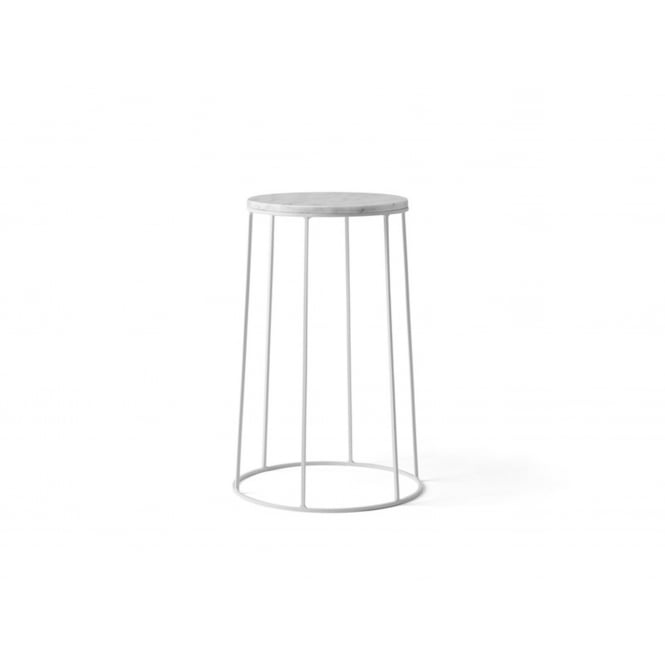 Menu Wire Series Marble Indoor/Outdoor Side Table - Medium - White