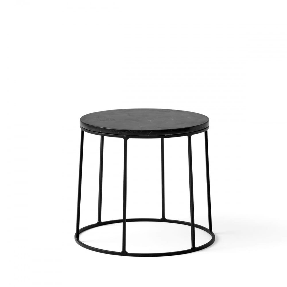 Wire Series Marble Indoor/Outdoor Side Table   Small   Black