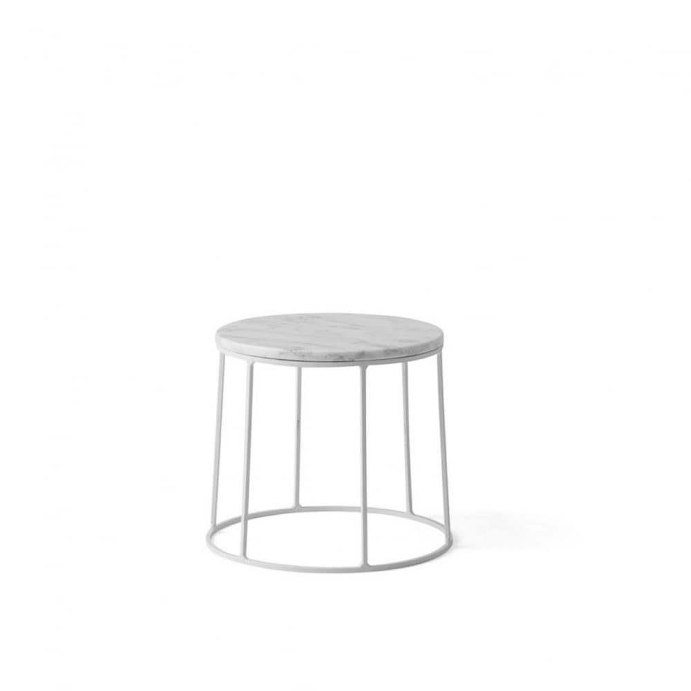 Wire Series Marble Indoor/Outdoor Side Table   Small   White