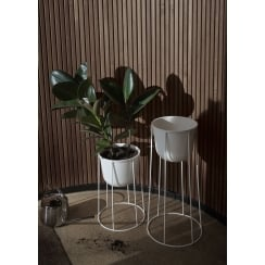 Wire Stand & Plant Pot - Large - White