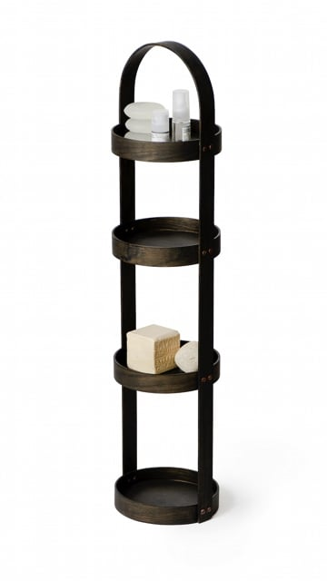 Wireworks 4 Tray Mezza Round Bathroom Caddy - Dark Oak