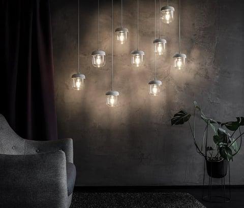 Vita Acorn Pendant Light - White/Steel