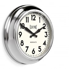 Large Electric Wall Clock - Chrome 45cm