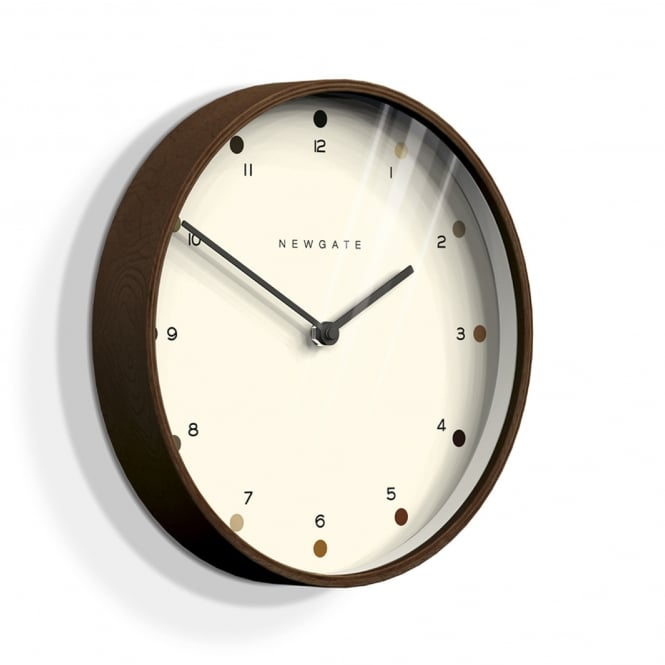 Newgate Mr Clarke Wall Clock - Dark Plywood - Shaded Dot Detail - 40cm