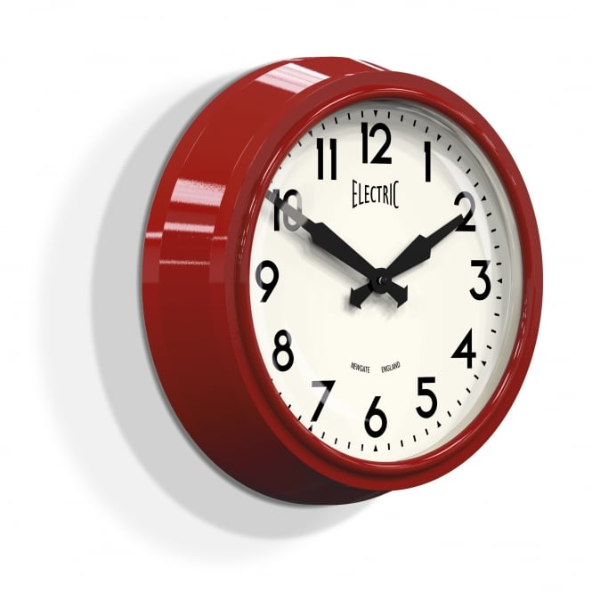 Newgate The Electric Wall Clock - Biscuit Box Red